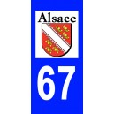 Autocollant Bas Rhin (67) plaque immatriculation