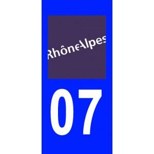 Autocollant Ardèche (07) plaque immatriculation