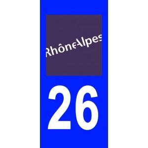 Autocollant Drôme (26) plaque immatriculation