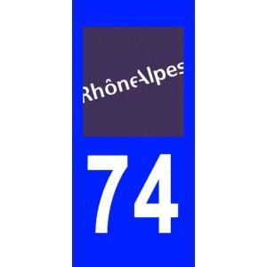 Autocollant Haute-Savoie (74) plaque immatriculation