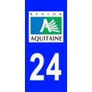 Autocollant Dordogne (24) plaque immatriculation