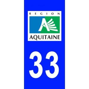 Autocollant Gironde (33) plaque immatriculation