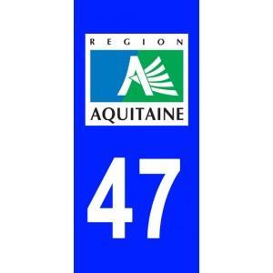 Autocollant Lot-et-Garonne (47) plaque immatriculation