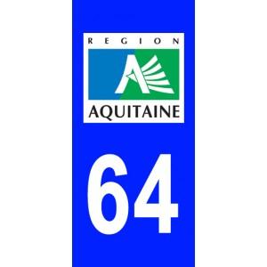 Autocollant Pyrénées-Atlantiques (64) plaque immatriculation