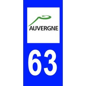 Autocollant Puy-de-Dôme (63) plaque immatriculation