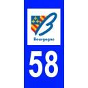 Autocollant Nièvre (58) plaque immatriculation
