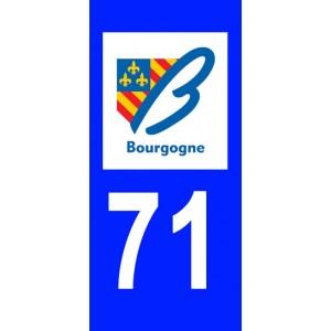 Autocollant Saône et Loire (71) plaque immatriculation
