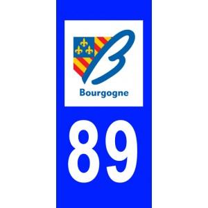 Autocollant Yonne (89) plaque immatriculation