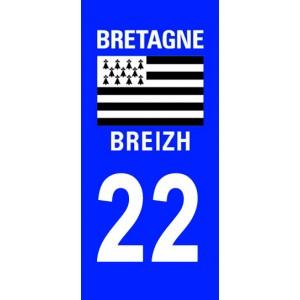 Autocollant Côtes d'Armor (22) plaque immatriculation