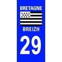 Autocollant Finistère (29) plaque immatriculation