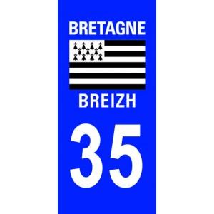Autocollant Ille-et-Vilaine (35) plaque immatriculation