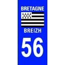 Autocollant Morbihan (56) plaque immatriculation
