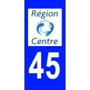 Autocollant Loiret (45) plaque immatriculation