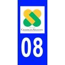 Autocollant Ardennes (08) plaque immatriculation