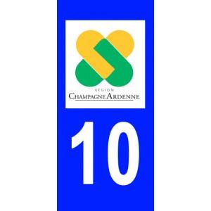 Autocollant Aube (10) plaque immatriculation