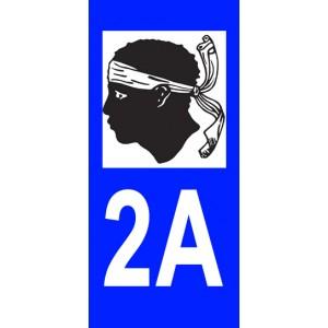 Autocollant Corse du Sud (2A) plaque immatriculation