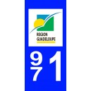 Autocollant Guadeloupe (971) plaque immatriculation
