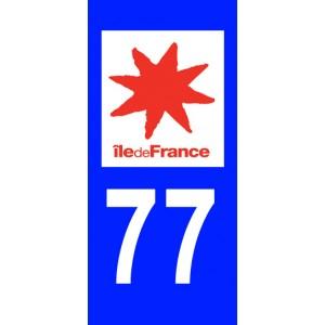 Autocollant Seine et Marne (77) plaque immatriculation