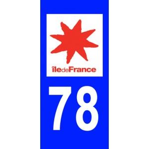Autocollant Yvelines (78) plaque immatriculation