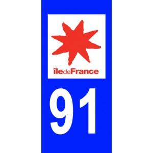 Autocollant Essonne (91) plaque immatriculation