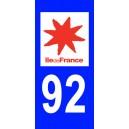 Autocollant Hauts de Seine (92) plaque immatriculation