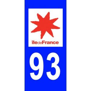Autocollant Seine Saint Denis (93) plaque immatriculation