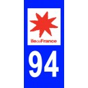 Autocollant Val-de-Marne (94) plaque immatriculation