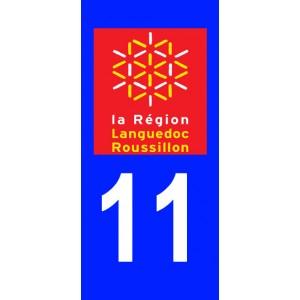 Autocollant Aude (11) plaque immatriculation