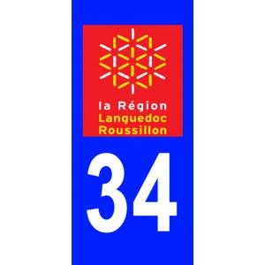 Autocollant Hérault (34) plaque immatriculation