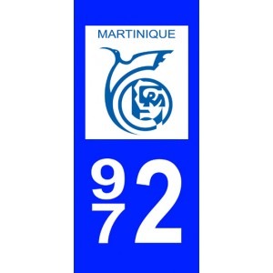 Autocollant Martinique (972) plaque immatriculation