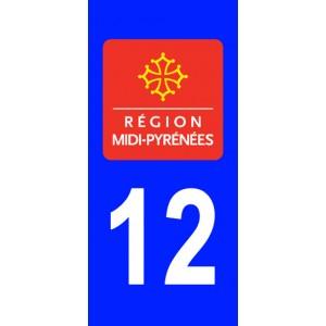 Autocollant Aveyron (12) plaque immatriculation