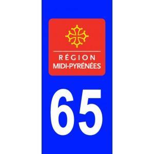 Autocollant Hautes Pyrénées (65) plaque immatriculation