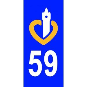 Autocollant Nord (59) plaque immatriculation