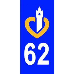 Autocollant Pas de Calais (62) plaque immatriculation