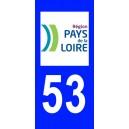 Autocollant Mayenne (53) plaque immatriculation