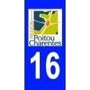 Autocollant Charente (16) plaque immatriculation