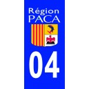 Autocollant Alpes de Haute Provence (04) plaque immatriculation