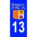 Autocollant Bouches du Rhône (13) plaque immatriculation